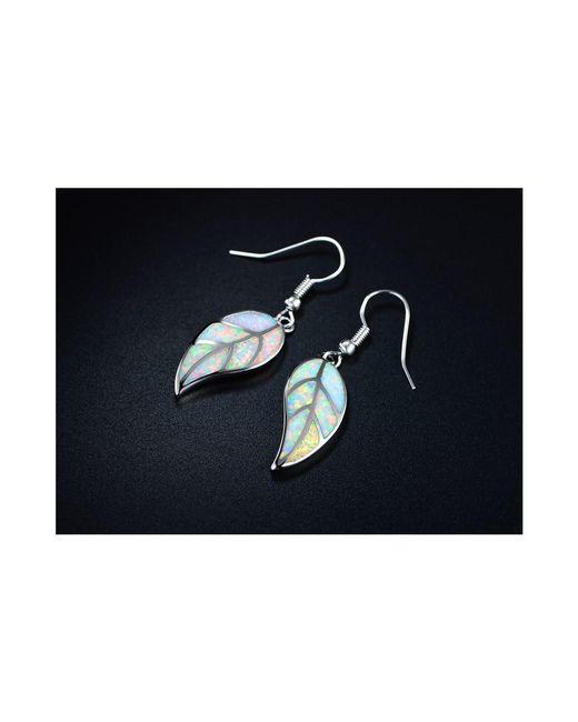 Peermont - Metallic 18k White Gold Plated Fire Opal Leaf Drop Earrings - Lyst