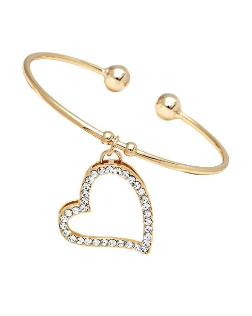 Peermont | Metallic Gold And Swarovski Elements Open Heart Charm Bangle | Lyst