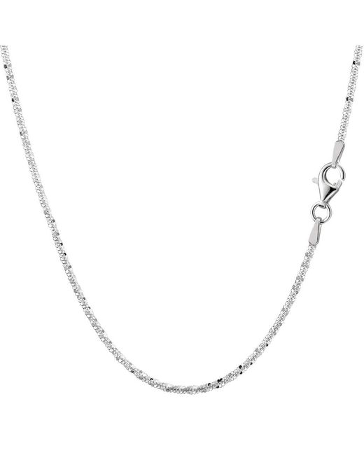 JewelryAffairs   White Sterling Silver Rhodium Plated Sparkle Chain Necklace, 2.2mm, 24 Inch   Lyst
