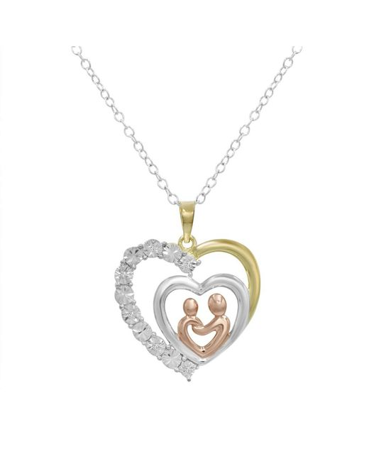 Amanda Rose Collection - Metallic Mother And Child Diamond Heart Pendant - Necklace In Tri Colored Sterling Silver - Lyst