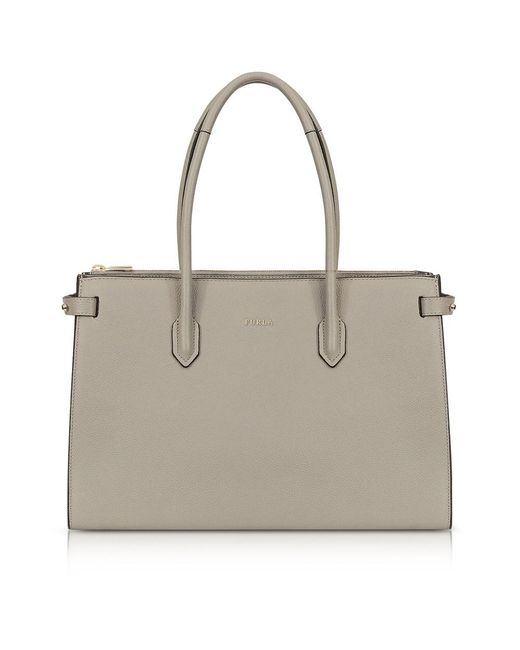 Furla - Gray Women's Grey Leather Tote - Lyst