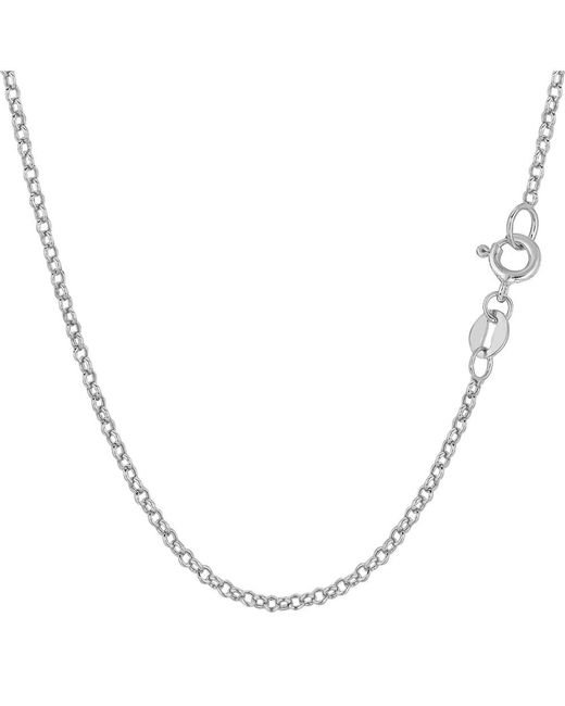 JewelryAffairs | 14k White Gold Round Rolo Link Chain Necklace, 1.85mm, 18 Inch | Lyst