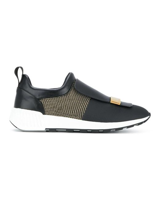 Sergio Rossi - Women's Black Leather Sneakers - Lyst