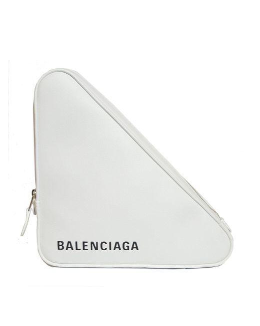 Balenciaga - White Triangle Pochette M Leather Clutch - Lyst