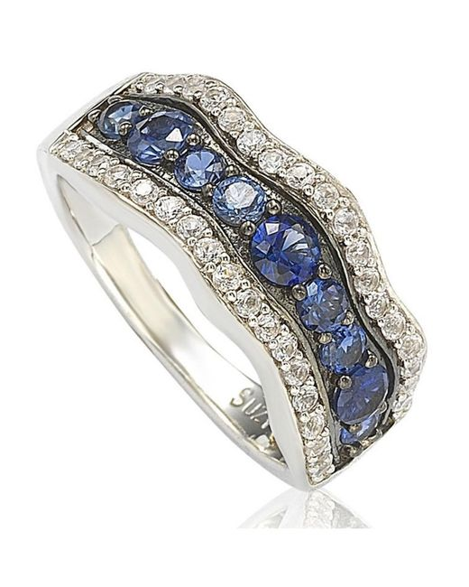 Suzy Levian - Metallic Sapphire And Diamond In Sterling Silver And 18k Gold Wavy Ring - Lyst