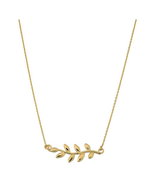 """JewelryAffairs - 10k Yellow Gold Olive Leaf Pendant On 18"""" Necklace - Lyst"""