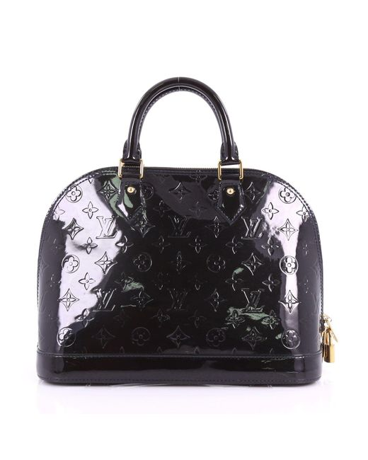ffa885e585ae ... Louis Vuitton - Black Pre Owned Alma Handbag Monogram Vernis Pm - Lyst  ...