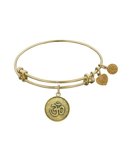 Angelica - Yellow Stipple Finish Brass Om Bangle Bracelet, 7.25 - Lyst