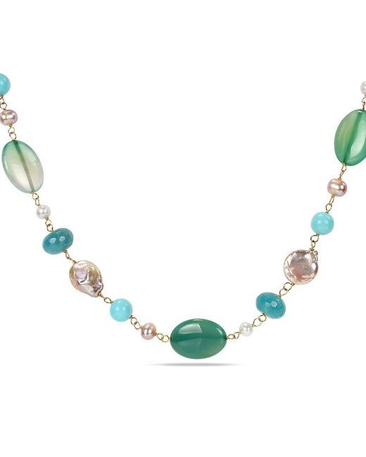 Catherine Malandrino - Green Freshwater Cultured Pearlsand Gems Bead Necklace - Lyst