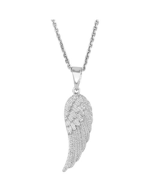 JewelryAffairs | White Sterling Silver Angel Wing Pendant Necklace, 18 | Lyst
