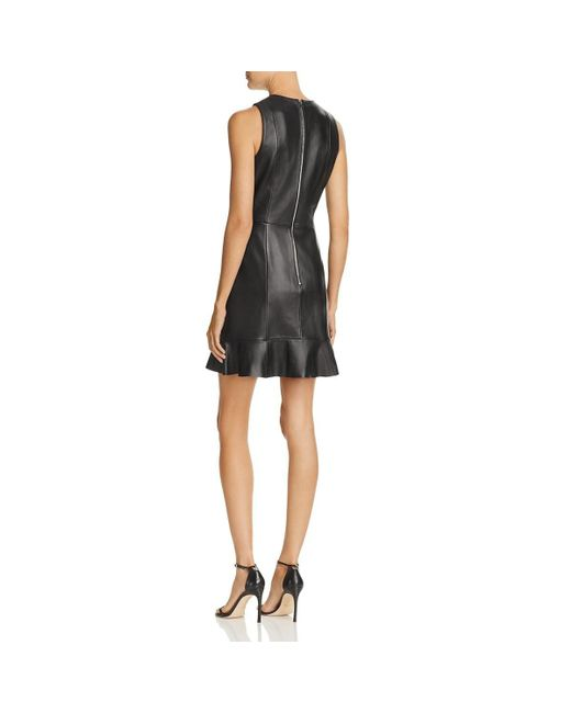 Parker Black Womens Hollywood Basic Leather Ruffled Tail Dress Lyst