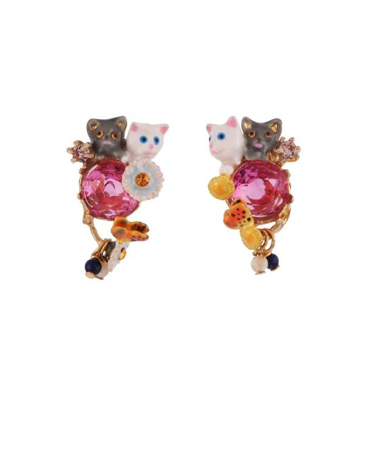 Les Nereides   Pink Little Cats Duo With Faceted Glass And Charms Clip Earrings   Lyst