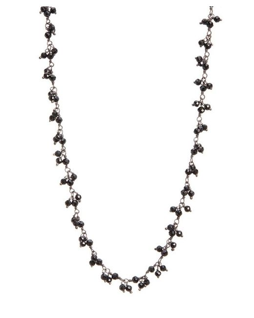 Adornia - Sterling Silver And Black Spinel Cluster Beaded Necklace - Lyst