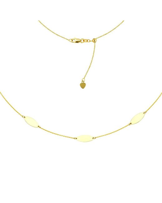 "JewelryAffairs - Marquise Trio Choker 14k Yellow Gold Necklace, 16"" Adjustable - Lyst"