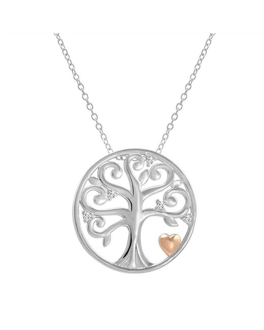 Amanda Rose Collection | Metallic Cubic Zirconia Tree Of Life Pendant-necklace With Rose Gold Plated Heart In Sterling Silver | Lyst