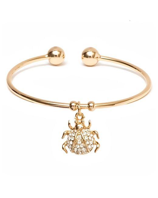 Peermont - Metallic Gold And Swarovski Elements Ladybug Charm Cuff - Lyst