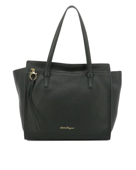Ferragamo - Black 'fill Up - Large' Leather Tote - Lyst