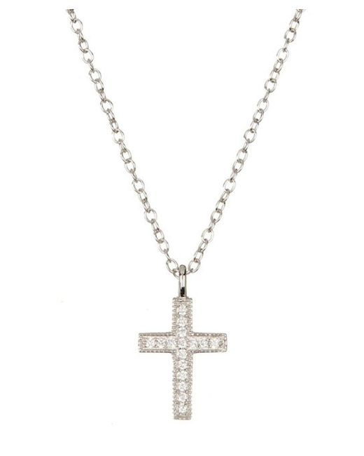 Adornia - Metallic Mini Cross Necklace Silver With Swarovski Crystal - Lyst