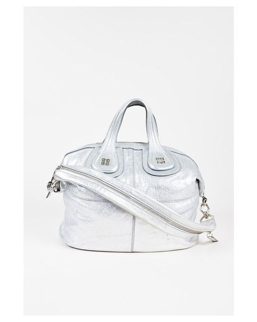 668a21043b15 Givenchy - 1 Metallic Silver Pebbled Leather