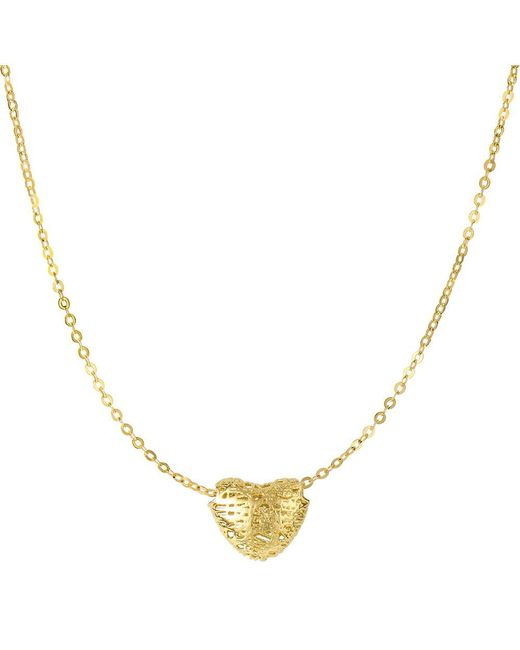 """JewelryAffairs - 14k Yellow Gold Textured Puffed Heart Pendant On 17"""" Necklace - Lyst"""