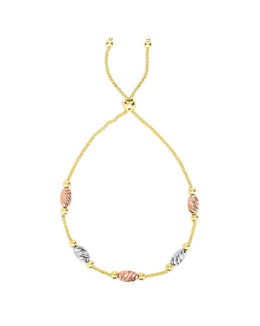 JewelryAffairs - Yellow Tricolor Diamond Cut Oval Bead Stations Bolo Friendship Bracelet In 14k Gold, 9.25 - Lyst