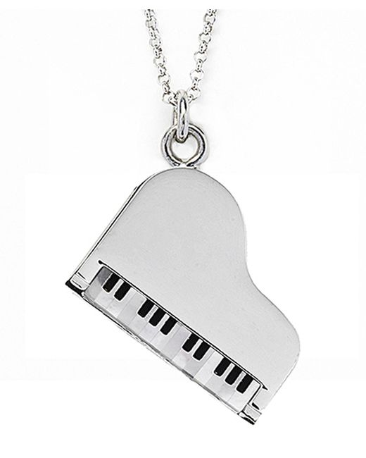 Jan Leslie   Metallic Mother-of-pearl And Onyx Piano Pendant / Charm Necklace   Lyst