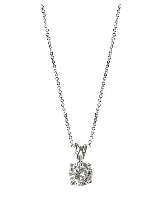CZ by Kenneth Jay Lane | Metallic 2cttw Round Cz Pendant Necklace | Lyst
