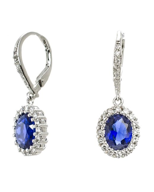 CZ by Kenneth Jay Lane   Blue 4cttw Oval Cz Pave Ears   Lyst