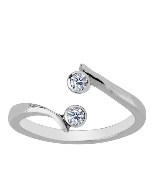JewelryAffairs - White Sterling Silver By Pass Ends With Cz Adjustable Toe Ring - Lyst