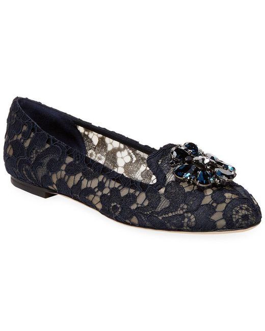 Dolce & Gabbana - Blue Embellished Lace Vally Flats - Lyst