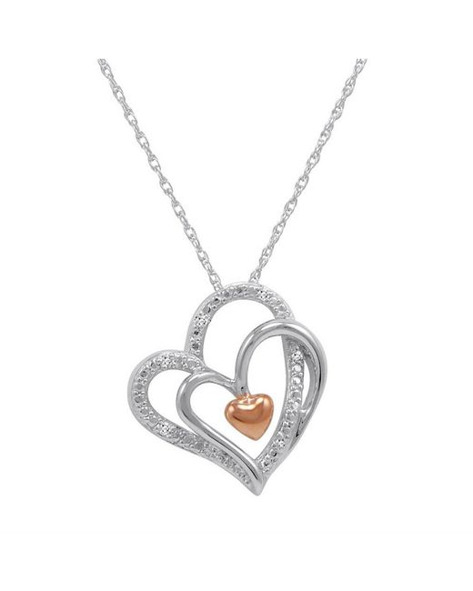 Lyst amanda rose collection sterling silver triple heart in heart amanda rose collection multicolor sterling silver triple heart in heart diamond pendant necklace aloadofball Choice Image