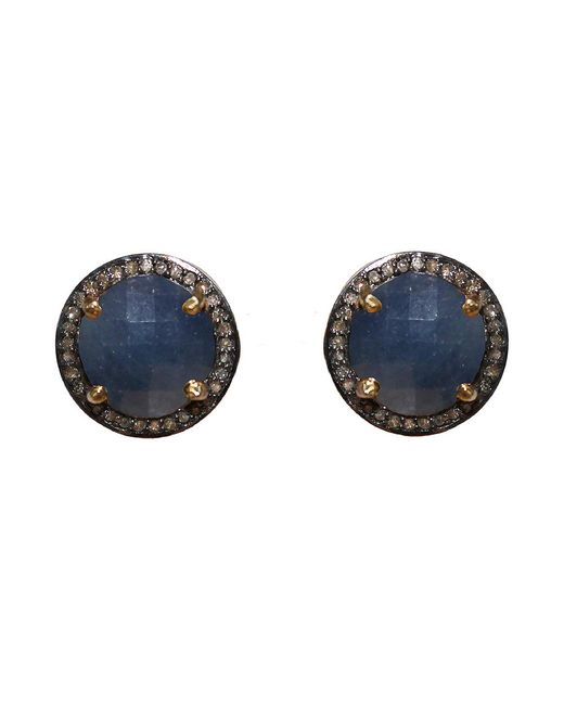 Adornia | Blue Sapphire And Champagne Diamond Echo Stud Earrings | Lyst