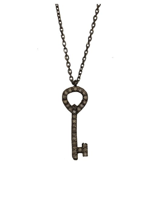 Adornia | Metallic Champagne Diamond And Sterling Silver Abby Key Necklace | Lyst