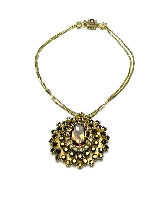 Otazu | Metallic Swarovski Crystal Goldtone Pendant | Lyst