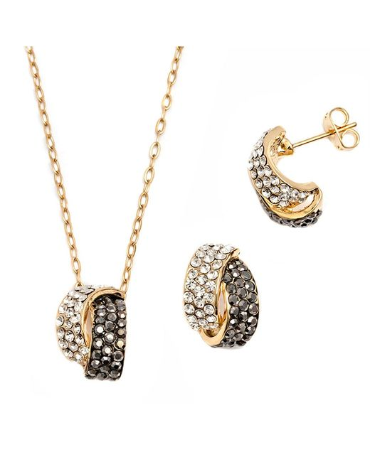 Peermont | Metallic Black And White Crystal Elements Knot Earrings And Pendant Set | Lyst