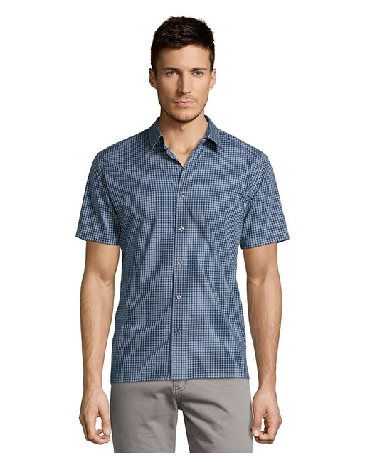 Vince Blue Gingham Check Cotton Short Sleeve Button Down