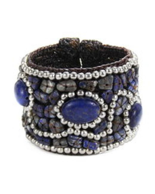 Aeravida | Blue Cotton Rope Mosaic Stone Brass Wire Adjustable Cuff | Lyst
