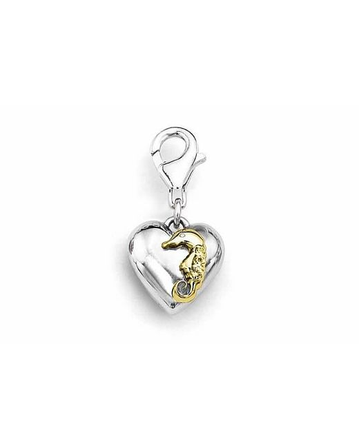 Tia Collections | 0.03ctw Diamond -yellow Gold Seahorse On A White Gold Puffed Heart Pendant | Lyst