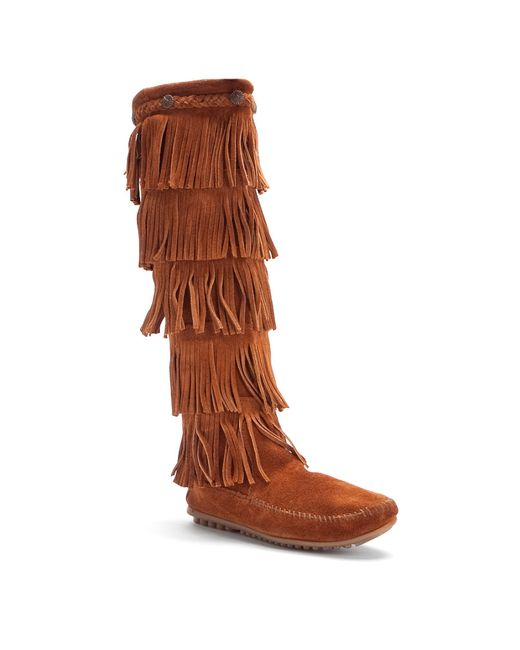 Minnetonka | Brown 5-layer Fringe Boot | Lyst