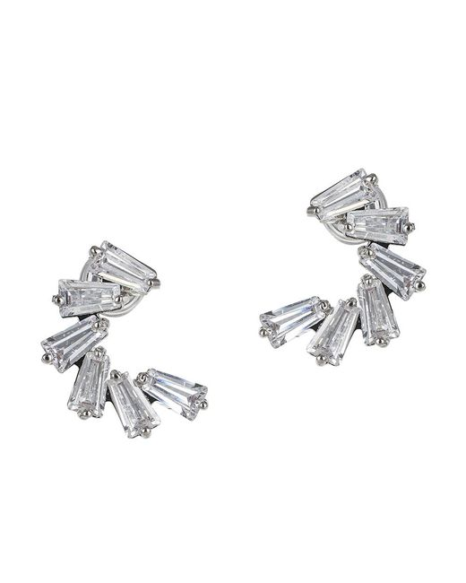 CZ by Kenneth Jay Lane | Metallic 4cttw Baguette Cz Earring Demi Lune | Lyst