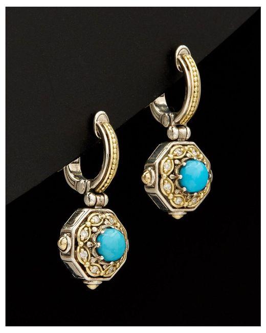 Konstantino - Metallic Hermione 18k & Silver 1.80 Ct. Tw. Diamond & Turquoise Earrings - Lyst