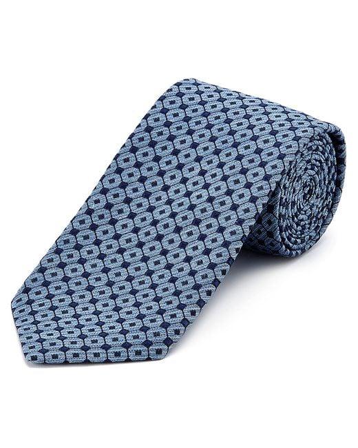 Ermenegildo Zegna   Blue Geometric Diamond-lattice Print Tie for Men   Lyst