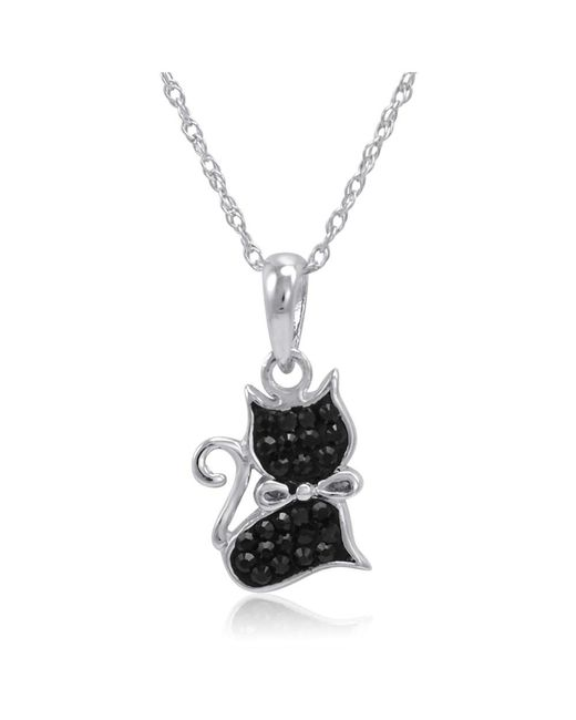Amanda Rose Collection - Metallic Sterling Silver Black Cat Pendant Necklcae Made With Swarovski Crystals - Lyst