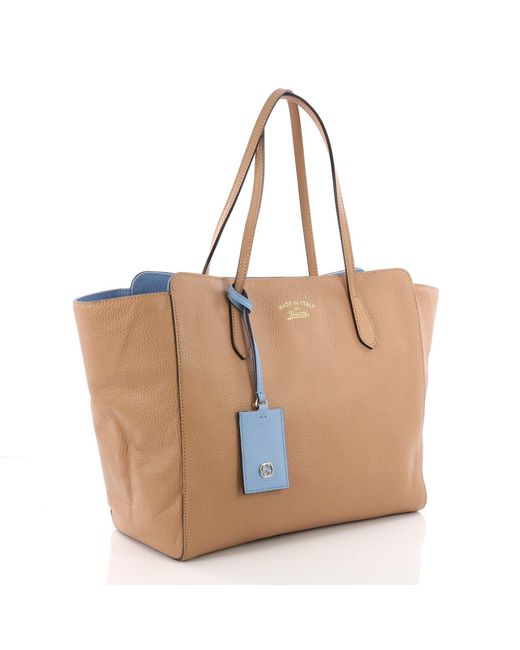 cb16bb3925f0 ... Gucci - Brown Pre Owned Swing Tote Leather Medium - Lyst ...