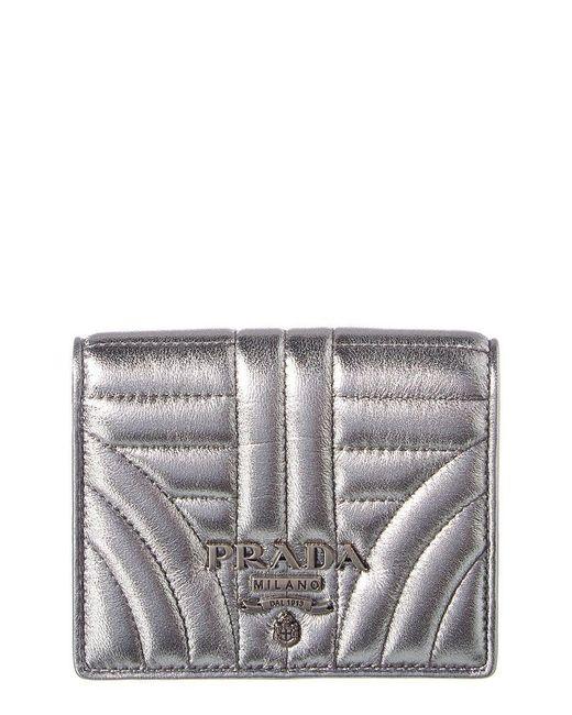 4e21e8e45bd3 Prada - Metallic Diagramme Leather Bifold Wallet - Lyst ...