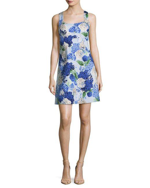 Cece by Cynthia Steffe - Blue Cece Hydrangea Bouquet Print A-line Dress - Lyst