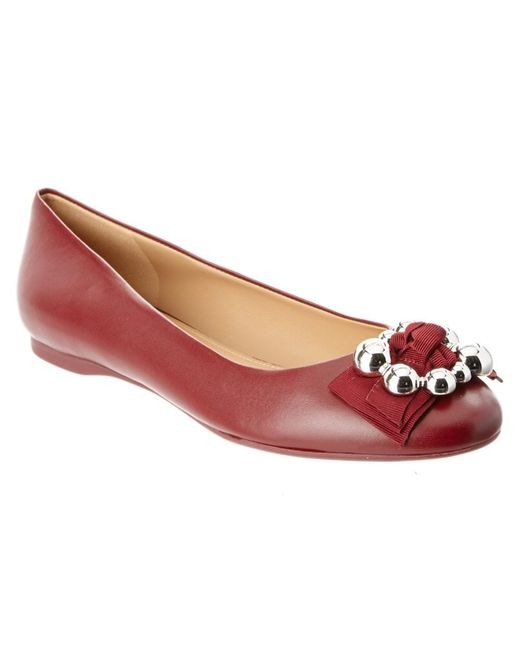 Ferragamo   Red Flair Leather Ballerina Flat   Lyst