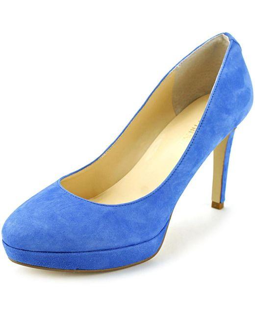 Ivanka trump Kimo Open Toe Suede Platform Heel in Blue | Lyst