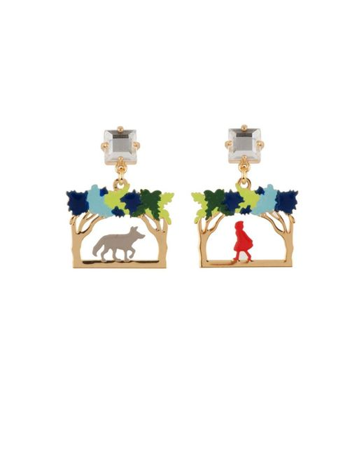 Les Nereides | White Into The Woods Little Red Riding Hood And The Wolf Asymmetrical Earrings | Lyst