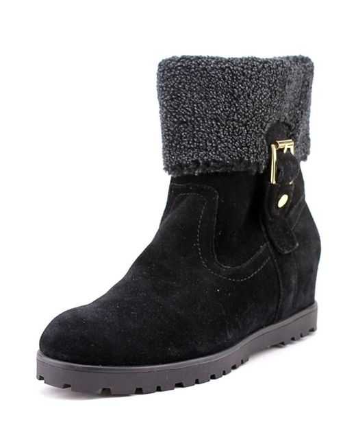 Tommy Hilfiger   Black Soffia Round Toe Suede Ankle Boot   Lyst